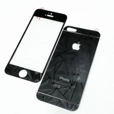 Защитное двухстороннее стекло Алмаз 2в1 для дисплея и корпуса iPhone 4, 4s Черное