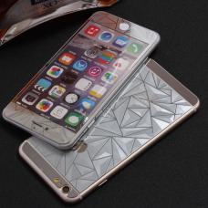 Защитное двухстороннее стекло Алмаз 2в1 для дисплея и корпуса iPhone 5, 5s Серебристое