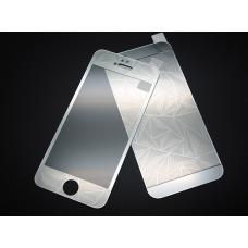 Защитное двухстороннее стекло Алмаз 2в1 для дисплея и корпуса iPhone 4, 4s Серебристое