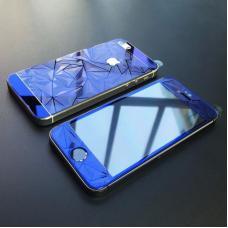 Защитное двухстороннее стекло Алмаз 2в1 для дисплея и корпуса iPhone 5, 5s Синее