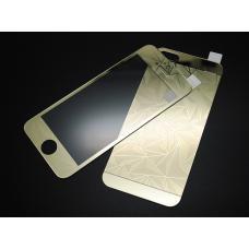 Защитное двухстороннее стекло Алмаз 2в1 для дисплея и корпуса iPhone 5, 5s Золотое