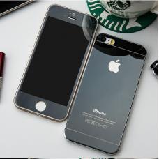 Защитное двухстороннее стекло Premium 2в1 для дисплея и корпуса iPhone 4, 4s Черное