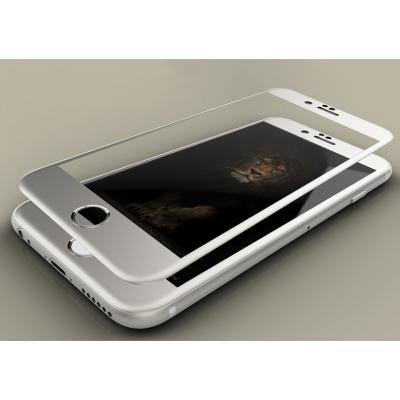 Защитное стекло на весь экран Style c алюминиевой рамкой для iPhone 7 Серебристое