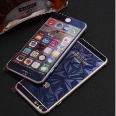Защитное двухстороннее стекло Алмаз 2в1 для iPhone 6 Plus, 6s Plus Синее