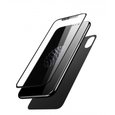 Защитное двухстороннее стекло Baseus Screen Protector 0.3mm 2в1 для iPhone Xs с Черной рамкой