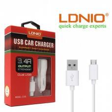Автомобильное зарядное устройство LDNIO C331 3.4А с кабелем Micro USB на 2 USB выхода