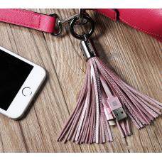 Кабель lightning 8pin Брелок-кисточка Розового цвета