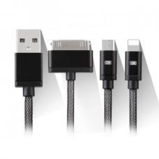 Кабель 3в1 30pin, Lightning, Micro USB Earldom 120 см ES-887 Черного цвета