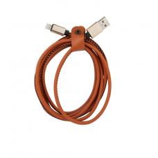 Кабель кожзам USB 8 pin Leather 2м для iPhone Коричневого цвета