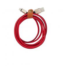 Кабель кожзам USB 8 pin Leather 2м для iPhone Красного цвета