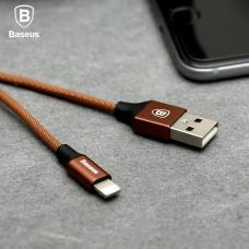 Кабель Lightning Baseus нейлоновый 120 см 2A Yiven Cable Коричневого цвета