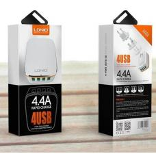 Сетевое зарядное устройство LDNIO на 4 USB 4.4A A4404