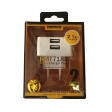 Сетевое зарядное устройство Remax 2.1A на 2 USB RP-U22
