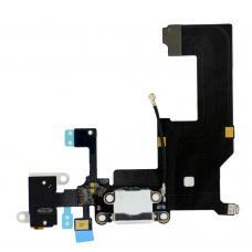 Нижний шлейф порта зарядки и аудио-разъема iPhone 5 Silver (белый) оригинал