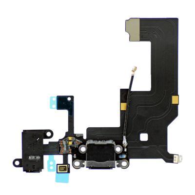 Нижний шлейф iPhone 5 порта зарядки и аудио-разъема оригинал (черный)