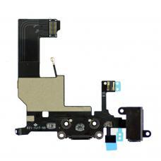 Нижний шлейф iPhone 5 порта зарядки и аудио-разъема оригинал чёрный (Space Gray)