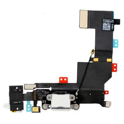 Нижний шлейф порта зарядки iPhone 5S белого цвета (оригинал)