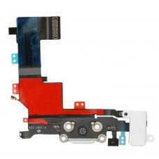 Нижний шлейф порта зарядки iPhone 5S Silver (белый) оригинал