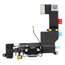 Нижний шлейф порта зарядки iPhone 5S Space Gray (чёрный) оригинал