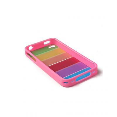 Чехол для iPhone 4/4s Радуга (розовая окантовка)